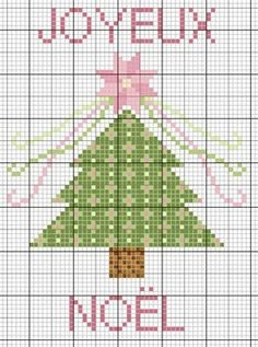 free cross stitch chart//  4 or 5 of these would be BEAUTIFUL cross-stitched along the opening of a pillowcase for Christmas Bedding.  I would do the trees but not the words.