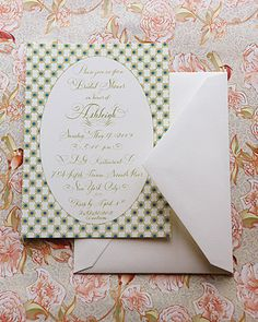 Bridal shower Invitations that match the decor of restaurant at Bergdorf Goodman in NYC