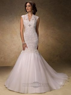 Fit and Flare V-neck Lace Wedding Dress with Illusion Sleeves