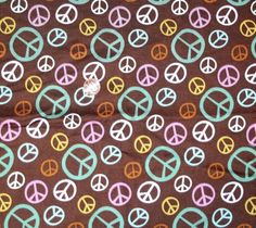 """Brown fabric with Peace Signs, 16"""" x 44"""" #JoAnnFabrics #freeshipping Make an offer!"""