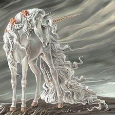 Long flowing mane of a unicorn mare Unicorn And Fairies, Unicorn Fantasy, Unicorns And Mermaids, Unicorn Horse, Unicorn Art, Fantasy Art, White Unicorn, Mythical Creatures Art, Mythological Creatures