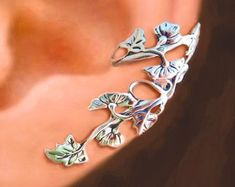 Scottish Thistle Ear Cuffs Sterling Silver Earrings Thistle   Etsy