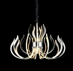 Mantra Versailles LED Polished Chrome Pendant Mantra Versailles LED Polished Chrome PendantA modern chandelier based on the shapes and movement of flames with a polished chrome finish creates a unique finish that adapts Modern Lighting Design, Lighting Concepts, Types Of Lighting, Versailles, Mantra, Led Chandelier, Modern Chandelier, Suspension Design, Beautiful Lights