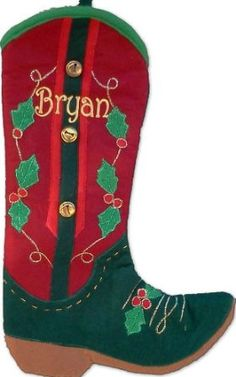 Amazon.com: Red and Green Cowboy Boot Christmas Stocking with Free Personalization: Home & Kitchen