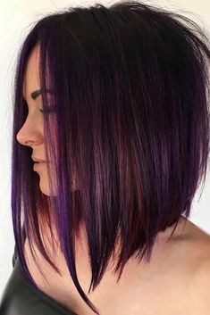 Purple Tinted Brunette Lob beautiful hair styles 70 Best A-Line Bob Hairstyles Screaming with Class and Style Medium Hair Styles, Short Hair Styles, Medium Hair Cuts Bob, Hair Cuts Lob, Fun Hair Cuts, Hair Cuts For Girls, Medium Bobs, Bob Styles, Brunette Lob