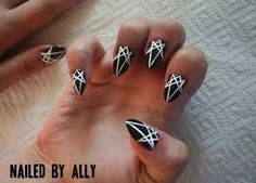 Black And White Nail Designs Stiletto Nails Gel Acrylic Pointed Polish Art