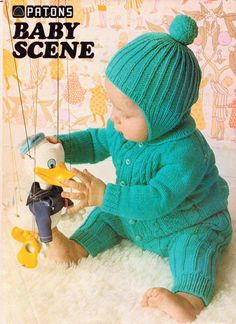The Owl Club: vintage baby knits hat cardigan pants