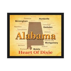 Aged Alabama State Pride Map Silhouette Stretched Canvas Prints