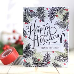 stamp set to create this entire look including the large sentiment happy holidays love the boughs stamped in black to form a frame on the card - Christmas Photo Cards 2017
