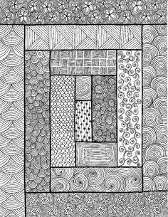 Rectangles - An original artwork by Cat Magness (very clever, take quilt patterns and zentangle inside) Dibujos Zentangle Art, Zentangle Drawings, Doodles Zentangles, Zentangle Patterns, Doodle Drawings, Doodle Art, Zen Doodle Patterns, Zentangle Art Ideas, Art Patterns