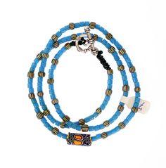 Light Blue Flat Ended Beads, Venetian Millefiori #1329 | Chains | Jewelry — http://www.decoartafrica.com € 45,00