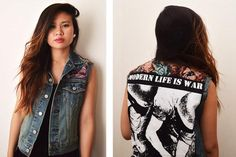 DIY Fashion: DIY Clothes DIY Refashion: Shoulder Panel Denim Vest