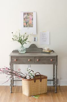 Beautiful painted gray and pink desk