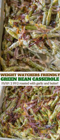 MADE THGVG Healthy Green Bean Casserole made with fresh green beans, a lightened up cream sauce and caramelized red onions. You'll love the Weight Watchers friendly changes with just 3 smart points per serving. Healthy Green Bean Casserole, Healthy Green Beans, Vegetarian Casserole, Weight Watchers Casserole, Weight Watchers Meals, Ww Recipes, Healthy Recipes, Skinny Recipes, Light Recipes