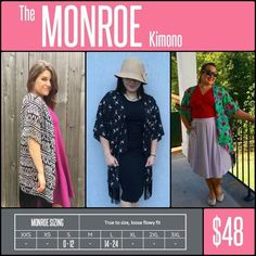 "MONROE KIMONO is flowing, oversized & comfortable. It comes in the prettiest patterned chiffon & lace fabrics. For added interest, the 1/2"" hem boasts a 4"", cut-fringe embellishment, giving it a flirty or sassy edge. It is great for throwing on over the most basic of outfits to look instantly polished & stylish. Looking & feeling great truly does not get easier than the MONROE KIMONO. Shop LuLaRoe with Tamara Feather at https://www.facebook.com/groups/703261596502999/"