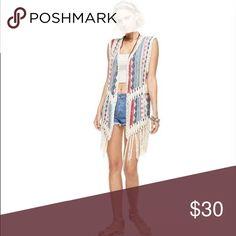 Tribal Print Fringed Vest Materials: Rayon Cotton Acrylic Jackets & Coats Vests