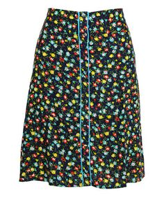 Look what I found on #zulily! Jet Blue Floral Picnic A-Line Skirt #zulilyfinds