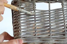 you like the look of the soft gray of driftwood finish color on furniture. You can update wicker using craft paint. Painting Wicker Furniture, Painted Furniture, Paint Wicker, Furniture Makeover, Diy Furniture, Painted Baskets, Wicker Chairs, Wicker Tray, Wicker Couch