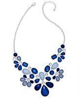Style&co. Silver-Tone Blue Stone Bib Necklace