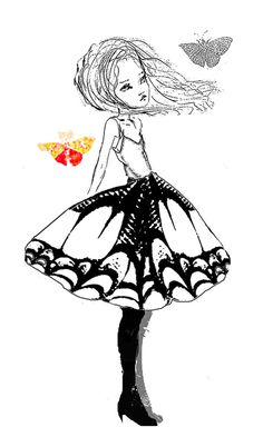 Digital Stamp, Butterfly Girl, Original Ilustration,