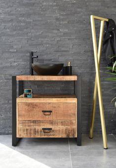 Metal Furniture, Home Furniture, Furniture Design, Bathroom Design Inspiration, Bathroom Interior Design, Design Industrial, Wood Bath, Wood Steel, Easy Home Decor