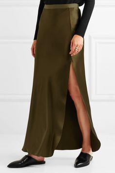 Nili Lotan - Maya Silk-satin Maxi Skirt - Green - US10