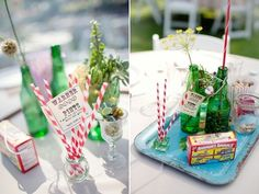 The green bottles are my fave! Google Image Result for http://tnwc.wearelife.co.uk/blog/wp-content/uploads/2011/11/beer_bottle_flower_centrepieces.jpg