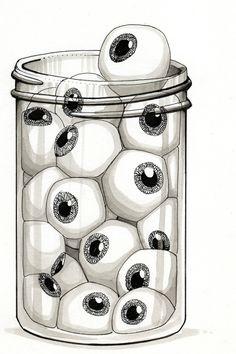 Illustration: surfeit, jar of eyeballs. Trippy Drawings, Dark Art Drawings, Cool Drawings, Eyeball Drawing, Les Aliens, Tatuagem Old School, Psy Art, Creepy Art, Horror Art