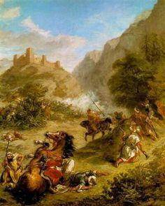 Algérie - Peintre FrançaisEugène Delacroix(1798- 1863), Huile sur toile, Titre :  Arabes escarmouches dans les montagnes