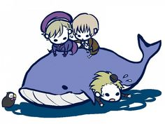 Hetalia- Norway, Iceland, Mr. Puffin, Denmark, and WHALE
