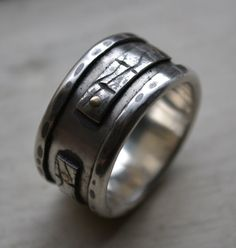 mens ring - handmade artisan designed fine silver and sterling silver with 14k gold rivets - oxidized - mens wedding band - customized on Etsy, $465.00