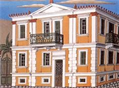 Neoclassical House in Athens Greek Paintings, Greek House, House Drawing, Greek Art, Neoclassical, Athens, Greece, Multi Story Building, Fine Art