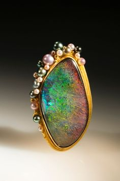"Lilly Fitzgerald Opal Brooch with Pearl ""bubbles""."