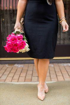 6 Outside of the Box Valentine Date Ideas | Black Dress Heels Pink Flowers Sunglasses