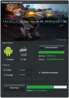 Walking War Robots Hack Tool (Android/iOS)   Walking War Robots Hack Tool(Android/iOS)  We want to present you an amazing tool calledWalking War Robots Hack Tool.With ourWalking War Robots Traineryou canget unlimited Coins Energy and Stamina.Our soft works on allAndroidand iOS devices. It does not require any jailbreak or root. OurWalking War Robots Cheatis very easy to use. Just Connect your device select the device check the options you want to add click on the buttonStart Hackand youre…