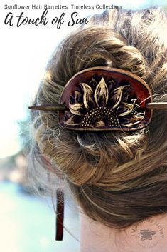 Do away with the boring hair clip! Add a beautiful touch to your hair and outfit with these gorgeous handcrafted sunflower hair barrettes! These leather hair slides are ONLY found at The Leather Smithy!  Limited quantities are available, Grab yours before it's gone!  #sunflowers #sunflower #hairbarrettes #hairclip #hairstyles #leatherhairbarrette #theleathersmithy  #handtooledleather