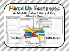 Mixed Up Sentences {Free} product from The-School-Supply-Addict on TeachersNotebook.com