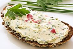 Photo about Bread with tasty spread and herbs as closeup on a white plate. Image of bread, feta, morsel - 9797526 No Salt Recipes, Vegan Recipes, Vegan Food, Russian Recipes, Snacks, Salmon Burgers, Quiche, Feta, Mashed Potatoes