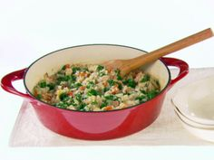 Risotto with Bacon, kale, and chicken -- a great use-up for leftover chicken and most of it cooks in the oven so you don't have to spend 20 minutes adding broth and stirring endlessly