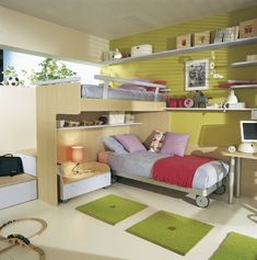 Teen Room Designs. Enticing Fresh Green Natural Teens Room Design Ideas Featuring Cool Bunk Beds, Nice Bedside Table with Awesome Table Lamp, Lovely Square Green Rugs, and Amazing Wall-Shelving Unit for Storage System and Decorations. Fancy Teens Room Design with Cool Bunk Beds Feature