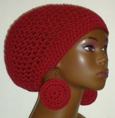 Wine Crochet Beret/Small Tam and Earrings by Razonda Lee