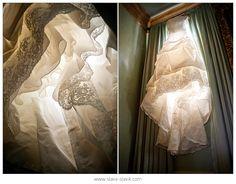 Glowing, flowing dress. [Ooo.  Lights inside voluminous hem and/or sleeves. Wedding dress notion? myb]