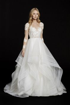 Hayley Paige - 6556 / ELYSIA | Jaehee Bridal Atelier    #lace #ballgown #vneck #illusion #longsleeve #bridal #weddingdress