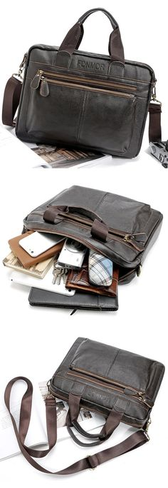 US$42.82 Big Capacity Business Briefcase Genuine Leather Crossbody Bag Shoulder Bag For Men