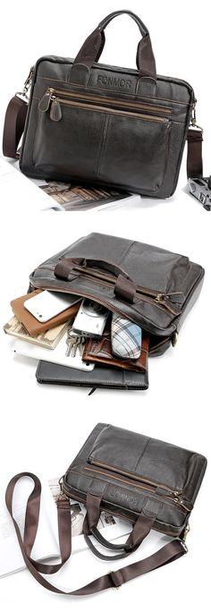 US$42.82 Big Capacity Business Briefcase Genuine Leather Crossbody Bag Shoulder Bag For Men