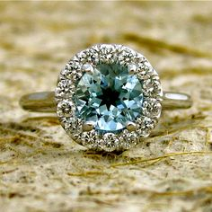 Vintage aquamarine engagement ring