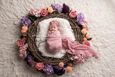 Newborn photography session with flowers, baby girl newborn photography pastel colors, pink purple and peach newborn pictures, newborn photography with nest prop, newborn photography with wreath prop, Eugene Oregon newborn photographer