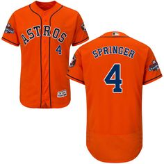 42d60a1b2 Astros  4 George Springer Orange Flexbase Authentic Collection 2017 World  Series Champions Stitched MLB Jersey