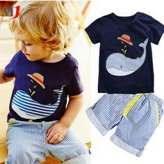 $7.74 (Buy here: https://alitems.com/g/1e8d114494ebda23ff8b16525dc3e8/?i=5&ulp=https%3A%2F%2Fwww.aliexpress.com%2Fitem%2FSummer-Kids-Children-s-Cotton-Short-sleeved-Suit-Boys-T-shirt-Pants-2pcs-Striped-Short-Baby%2F32794253925.html ) 2017 Sale New Children's Clothing Boys Summer Whale T-shirt and Striped Shorts Sports Suit Brand Children Boy Baby Kids Outfits for just $7.74