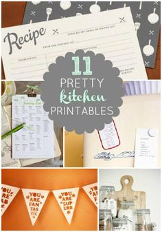 Kitchen printables (for canisters, spices, placemats, recipe cards, recipe card dividers, etc.)